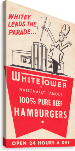 white tower hamburger ad  Canvas Print