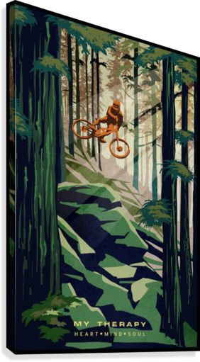 My Therapy retro Mountain biking art   Canvas Print