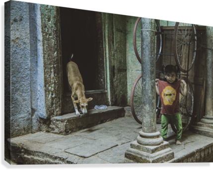 Varanasi girl and dog  Canvas Print