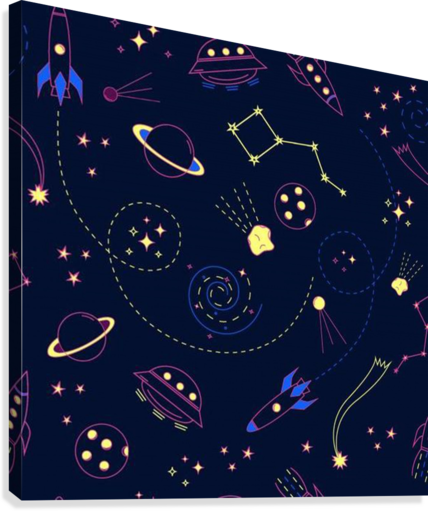 Cartoon space seamless pattern vectors  Canvas Print