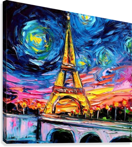 Eiffel Tower Starry Night print van Gogh  Canvas Print