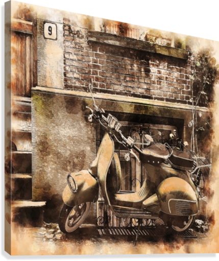 moped scooter parked building  Canvas Print
