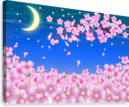sakura cherry blossom night moon  Canvas Print