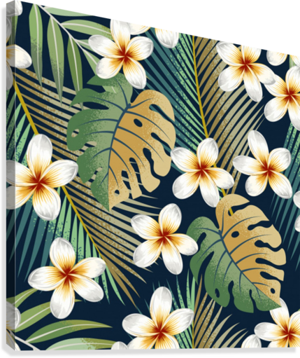 seamless pattern with tropical strelitzia flowers leaves exotic background_  Canvas Print