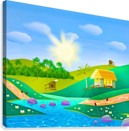 tropical resort huts lake river Canvas print