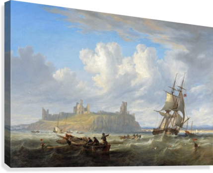 Shipping off Dunstanborough Castle, Northumberland 1844  Canvas Print