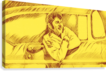 A drawing Of Elvis Presley In a Car Painted Yellow.     Canvas Print