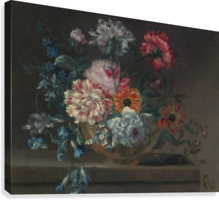 Still life of variegated carnations and other flowers on a ledge  Canvas Print