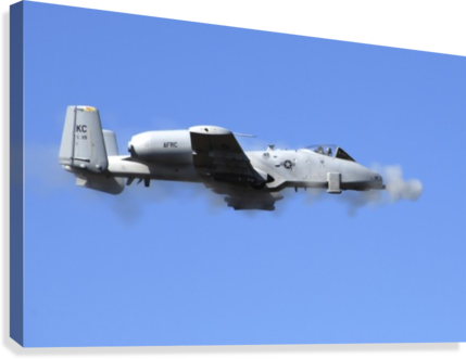 A pilot in an A-10 Thunderbolt II fires the planes 30-mm cannon.  Canvas Print