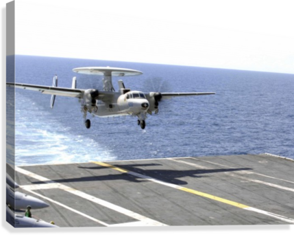 An E-2C Hawkeye makes its approach to the flight deck of USS Dwight D. Eisenhower.  Canvas Print