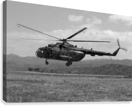 A MACEDONIAN MI-17 HELICOPTER LANDING AS PART OF A MEDICAL TRANSPORT FLIGHT. STOCKTREKIMAGES  Canvas Print