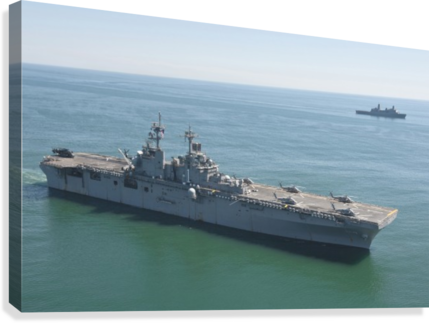 USS Wasp and USS San Antonio transit in formation in the Atlantic Ocean.  Canvas Print