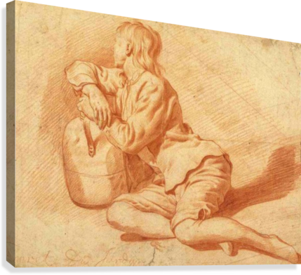 Study of a seated boy leaning on a flagon  Canvas Print