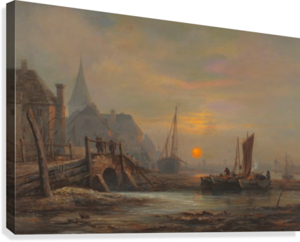 Sunset in a port  Canvas Print