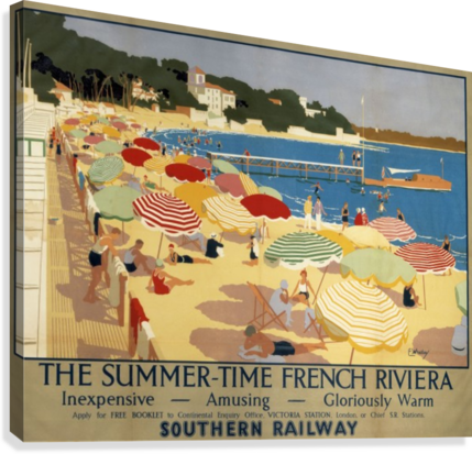 The Summertime French Riviera Southern Railway travel poster  Canvas Print