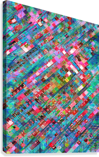 geometric square pixel pattern abstract background in blue pink  Canvas Print