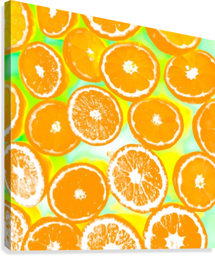 juicy orange pattern abstract with yellow and green background  Canvas Print