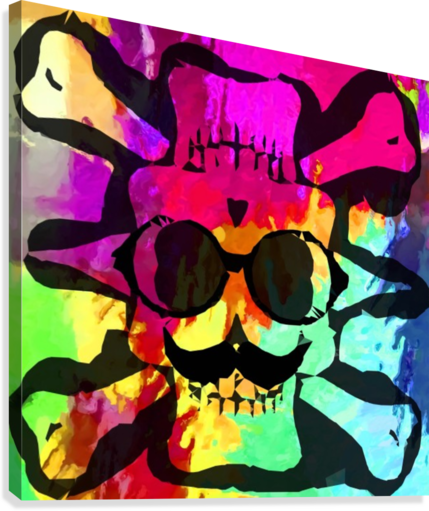 old vintage funny skull art portrait with painting abstract background in red purple yellow green  Canvas Print