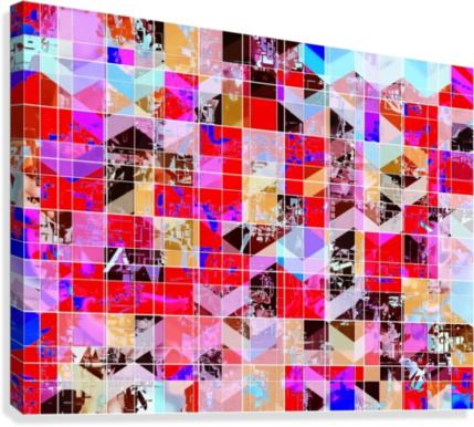 geometric square and triangle pattern abstract in red pink blue  Canvas Print