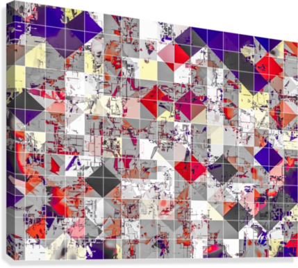 geometric square pixel pattern abstract in purple orange red  Canvas Print