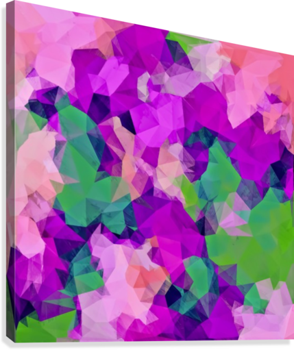 PSYCHEDELIC GEOMETRIC POLYGON PATTERN ABSTRACT IN PINK PURPLE GREEN TIMMYLA  Canvas Print