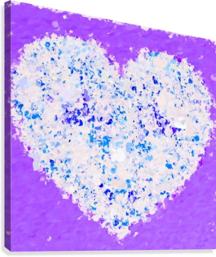 blue and white heart shape with purple background  Canvas Print