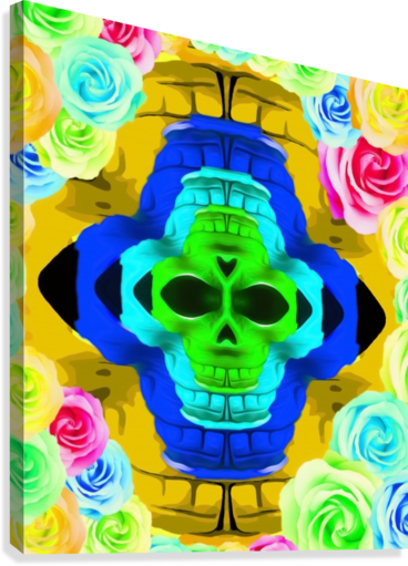 funny skull portrait with colorful roses in pink blue yellow green  Canvas Print