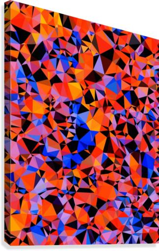 geometric triangle pattern abstract in blue orange red  Canvas Print