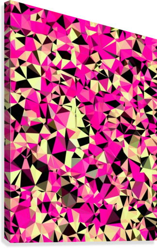 geometric triangle pattern abstract in pink and black  Canvas Print