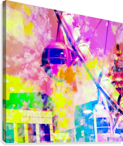 Ferris wheel and modern building at Las Vegas, USA with colorful painting abstract background  Canvas Print