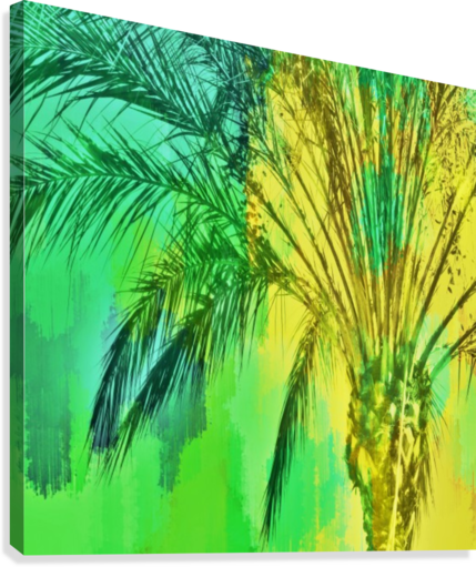 ISOLATE PALM TREE WITH PAINTING ABSTRACT BACKGROUND IN GREEN YELLOW TIMMYLA  Canvas Print