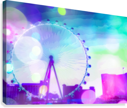 ferris wheel in the city at Las Vegas, USA with the night light bokeh  Canvas Print