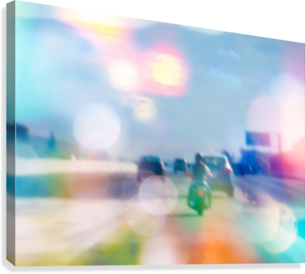car and motorcycle on the road in the city with bokeh light  Canvas Print