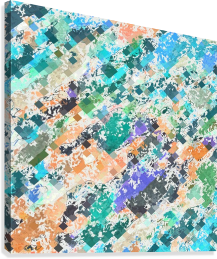 psychedelic geometric square pixel pattern abstract in green blue purple orange  Canvas Print