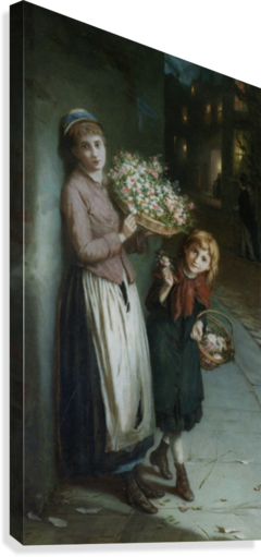 Two girls selling flowers  Canvas Print