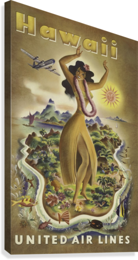United Air Lines Hawaii Classic Travel Poster  Canvas Print