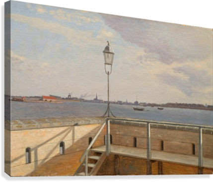 View from the Trekroner Battery with Copenhagen in the distance  Canvas Print