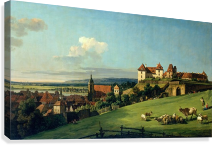View of Pirna from the Sonnenstein Castle, c. 1750  Canvas Print