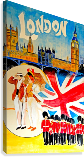 Vintage travel poster for London, England  Canvas Print