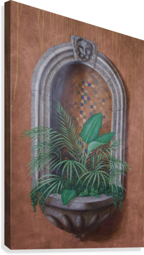 Wall Alcove with Plants - Trompe Loeil  Canvas Print