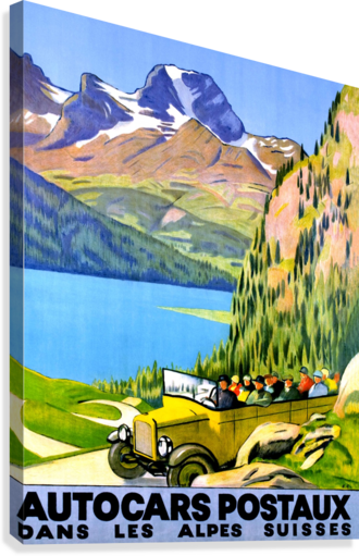 SWISS ALPS BY CAR VINTAGESUPREME  Canvas Print