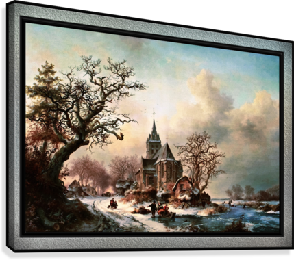 Winter Landscape with Activities by a Village by Frederik Marinus Kruseman Old Masters Classical Fine Art Reproduction  Canvas Print