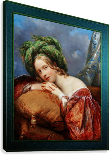 Dame Mit Grunem Turban by Aimee Pages-Brune Classical Fine Art Xzendor7 Old Masters Reproductions  Canvas Print