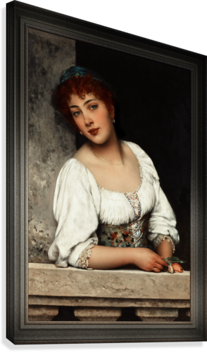Girl At The Window by Eugen von Blaas Classical Art Xzendor7 Old Masters Reproductions  Canvas Print