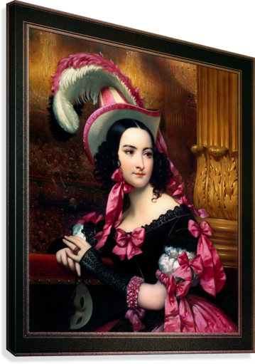 The Venetian At The Mask Ball by Joseph-Desire Court Classical Fine Art Xzendor7 Old Masters Reproductions  Canvas Print