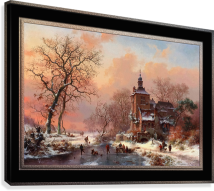 Winter Landscape with Skaters on a Frozen River by Frederik Marinus Kruseman Fine Art Old Masters Reproduction  Canvas Print