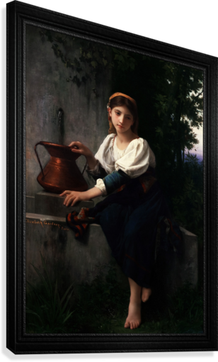 Young Girl Gathering Water At The Fountain by Elizabeth Gardner Classical Fine Art Xzendor7 Old Masters Reproductions  Canvas Print