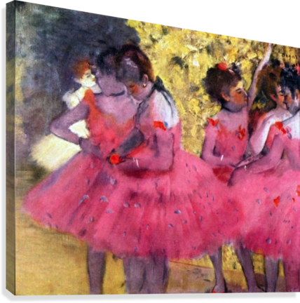 Dancers in pink between the scenes by Degas  Canvas Print