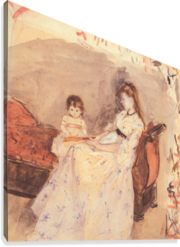 Edma, the sister of the artist with her daughter by Morisot  Canvas Print