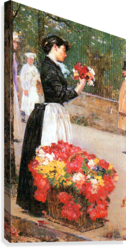 Flower girl by Hassam  Canvas Print